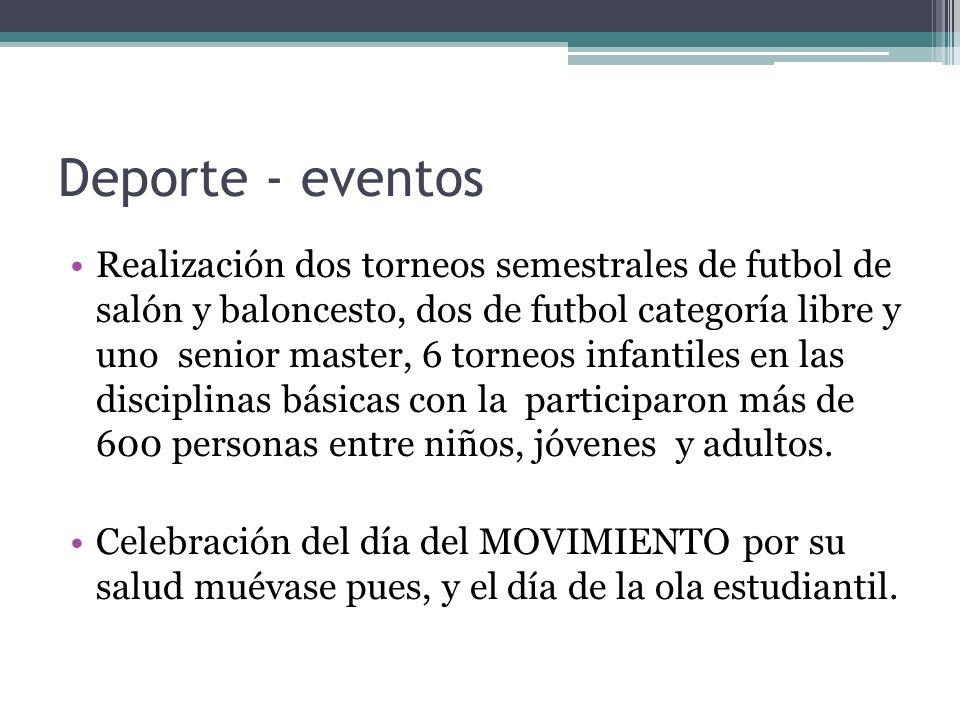 Deporte - eventos Realización dos torneos semestrales de futbol de salón y baloncesto, dos de futbol categoría libre y uno senior master, 6 torneos in