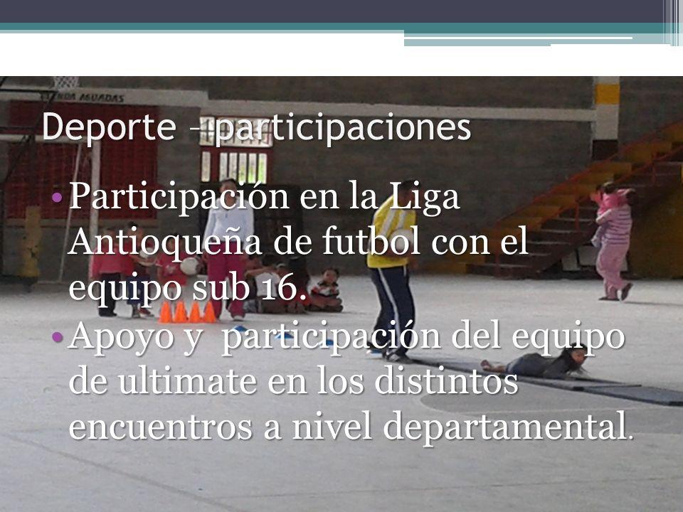 Deporte – participaciones Participación en la Liga Antioqueña de futbol con el equipo sub 16.Participación en la Liga Antioqueña de futbol con el equi