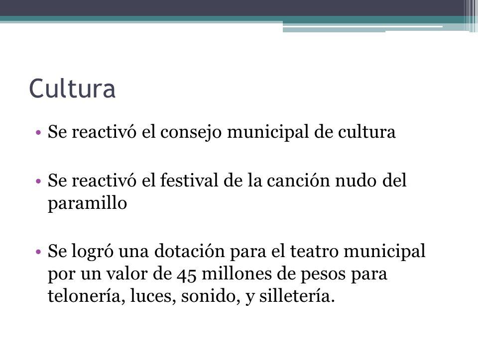 Cultura Se reactivó el consejo municipal de cultura Se reactivó el festival de la canción nudo del paramillo Se logró una dotación para el teatro muni