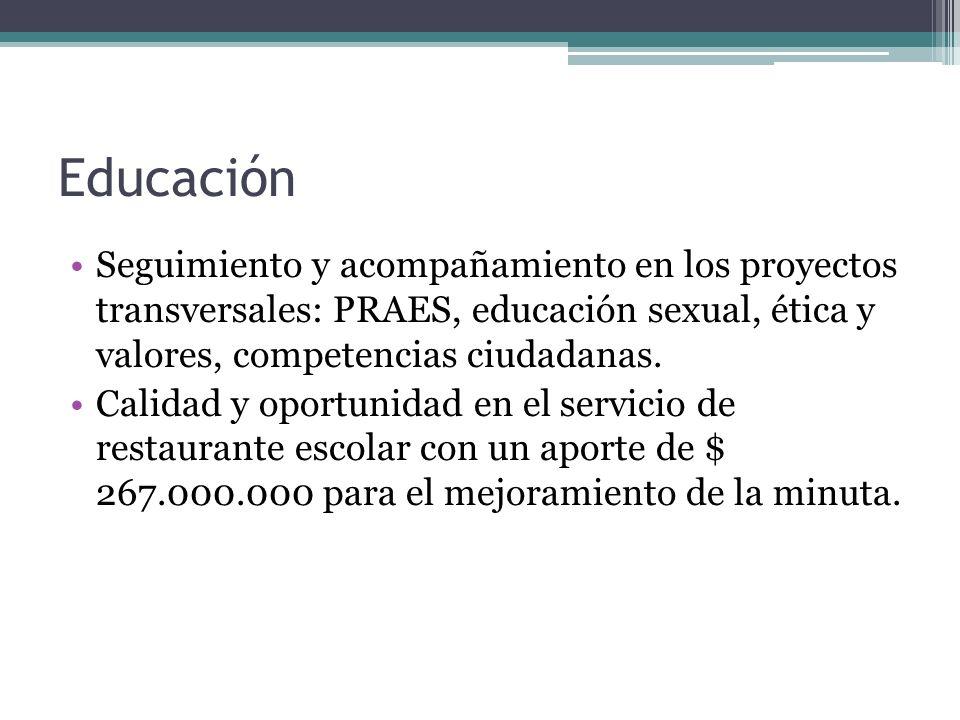 Educación Seguimiento y acompañamiento en los proyectos transversales: PRAES, educación sexual, ética y valores, competencias ciudadanas. Calidad y op