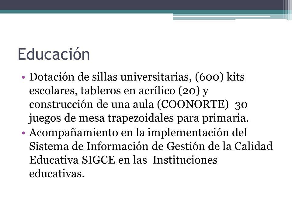Educación Dotación de sillas universitarias, (600) kits escolares, tableros en acrílico (20) y construcción de una aula (COONORTE) 30 juegos de mesa t