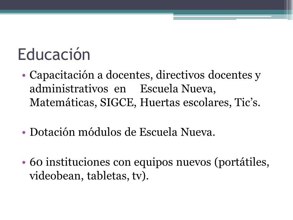Educación Capacitación a docentes, directivos docentes y administrativos en Escuela Nueva, Matemáticas, SIGCE, Huertas escolares, Tics. Dotación módul