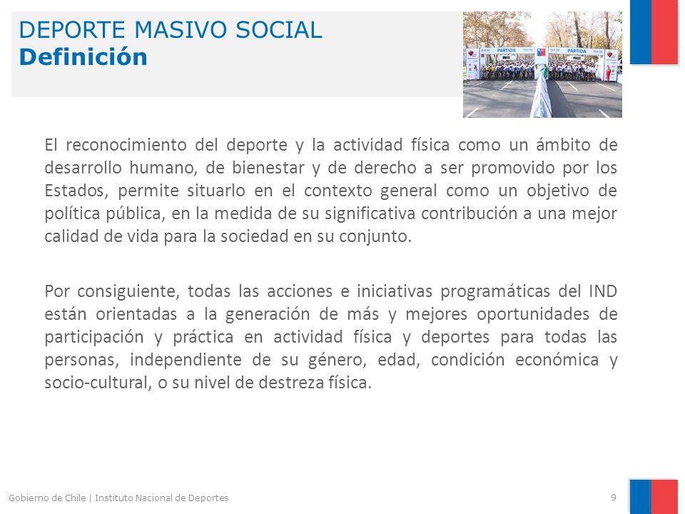 DEPORTE MASIVO SOCIAL Definición 9 Gobierno de Chile | Instituto Nacional de Deportes El reconocimiento del deporte y la actividad física como un ámbi
