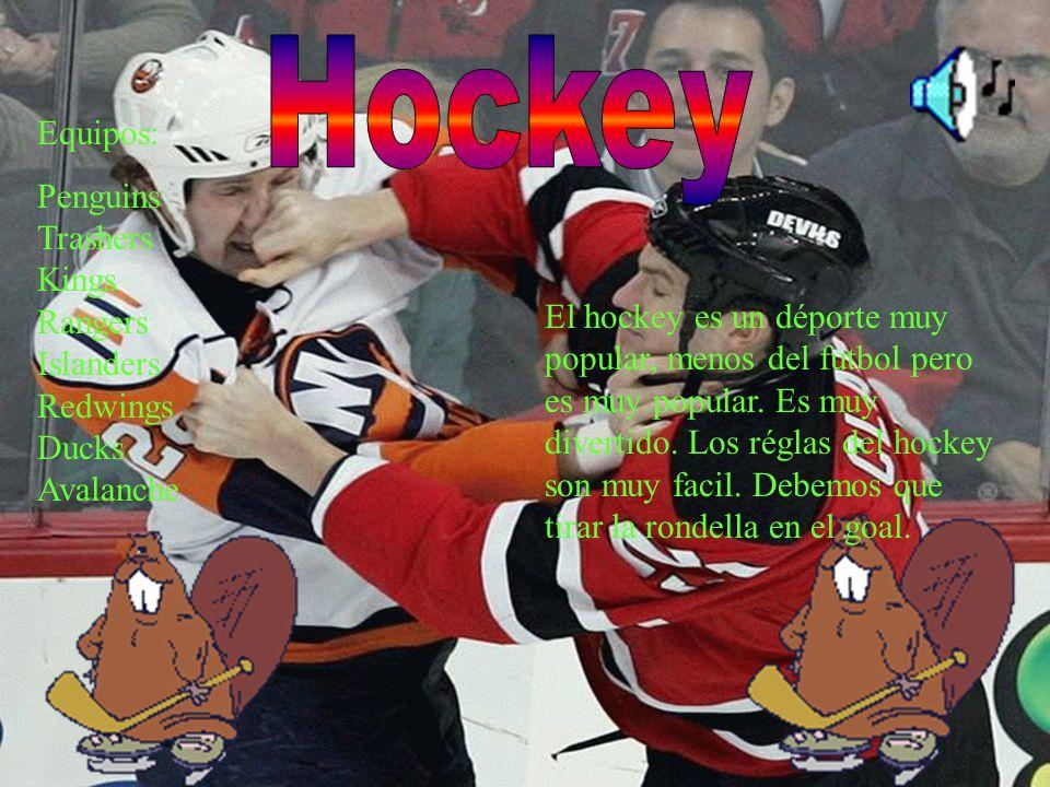El hockey es un déporte muy popular, menos del futbol pero es muy popular. Es muy divertido. Los réglas del hockey son muy facil. Debemos que tirar la