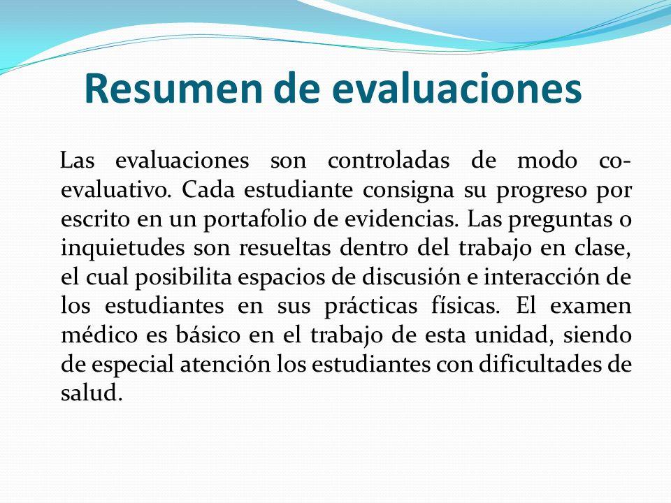 Resumen de evaluaciones Las evaluaciones son controladas de modo co- evaluativo. Cada estudiante consigna su progreso por escrito en un portafolio de