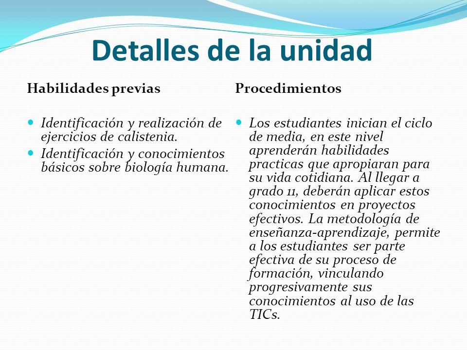 Detalles de la unidad Habilidades previas Identificación y realización de ejercicios de calistenia. Identificación y conocimientos básicos sobre biolo