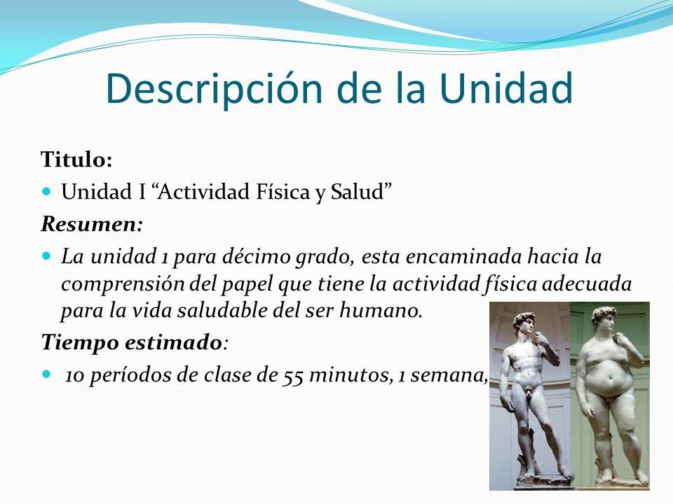 Descripción de la Unidad Titulo: Unidad I Actividad Física y Salud Resumen: La unidad 1 para décimo grado, esta encaminada hacia la comprensión del pa