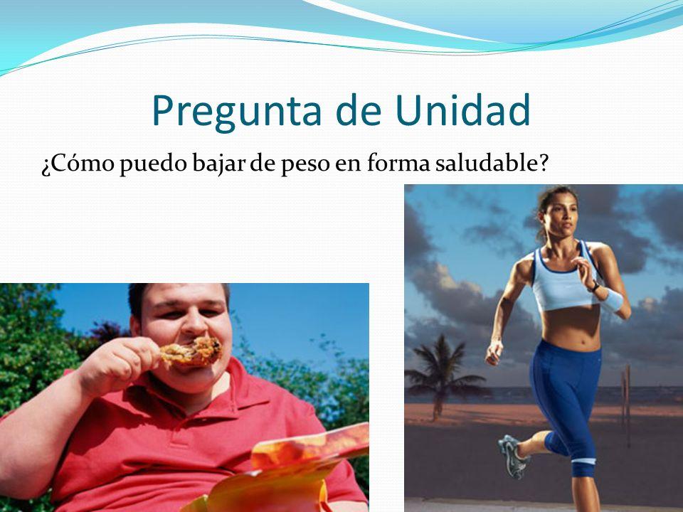 Pregunta de Unidad ¿Cómo puedo bajar de peso en forma saludable?