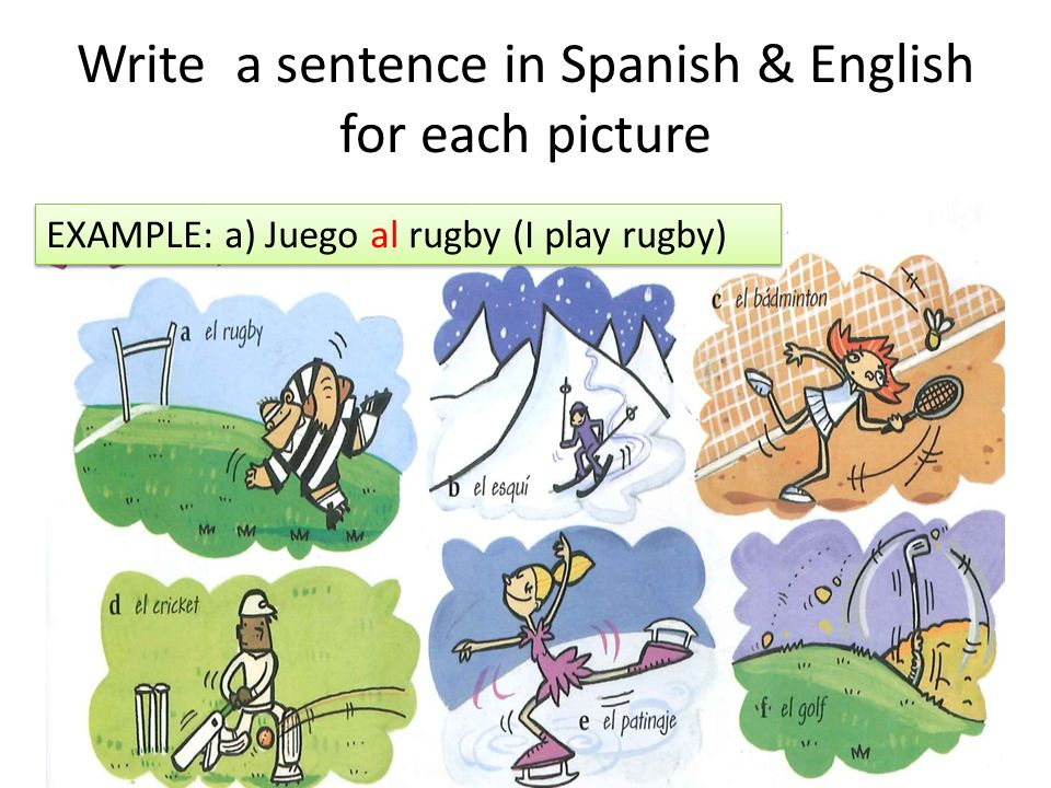 Write a sentence in Spanish & English for each picture EXAMPLE: a) Juego al rugby (I play rugby)