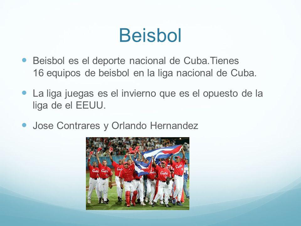 Beisbol Beisbol es el deporte nacional de Cuba.Tienes 16 equipos de beisbol en la liga nacional de Cuba.