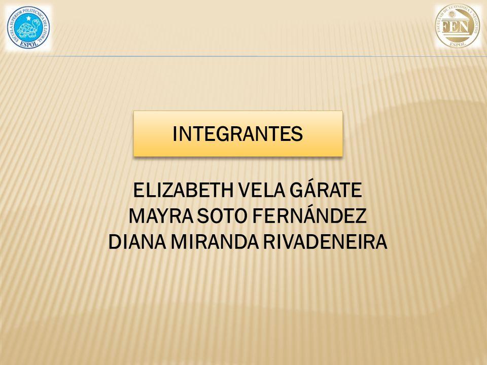 ELIZABETH VELA GÁRATE MAYRA SOTO FERNÁNDEZ DIANA MIRANDA RIVADENEIRA INTEGRANTES