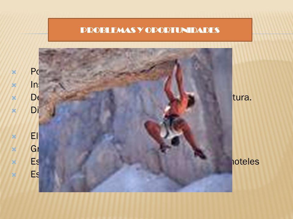 PROBLEMAS Y OPORTUNIDADES PROBLEMAS Pocas opciones de deportes de aventura. Inseguridad en la práctica del mismo. Desconocimiento acerca de los deport