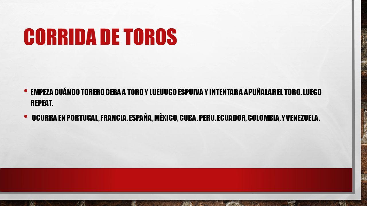 CORRIDA DE TOROS EMPEZA CUÁNDO TORERO CEBA A TORO Y LUEUUGO ESPUIVA Y INTENTAR A APUÑALAR EL TORO.