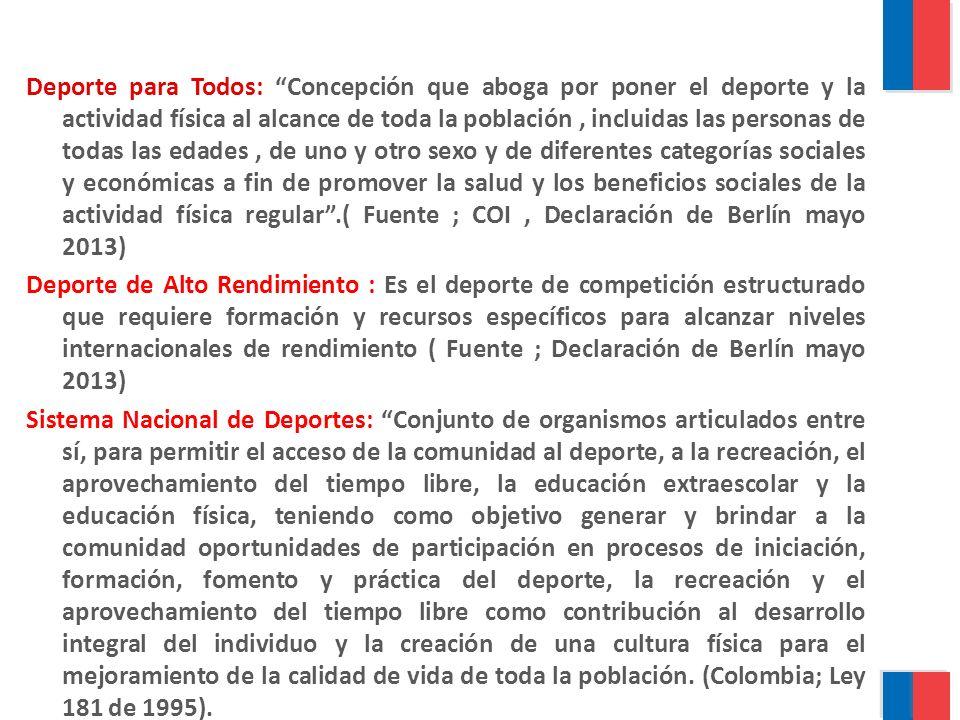 Deporte para Todos: Concepción que aboga por poner el deporte y la actividad física al alcance de toda la población, incluidas las personas de todas l
