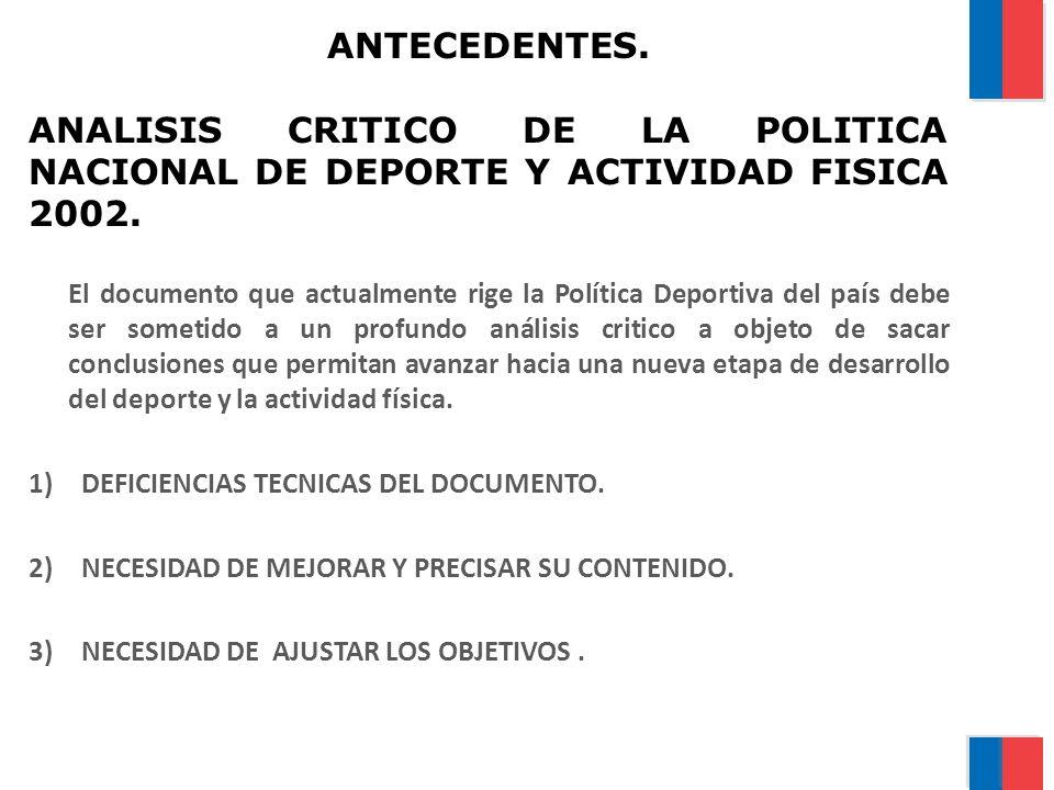 ANTECEDENTES. ANALISIS CRITICO DE LA POLITICA NACIONAL DE DEPORTE Y ACTIVIDAD FISICA 2002. El documento que actualmente rige la Política Deportiva del