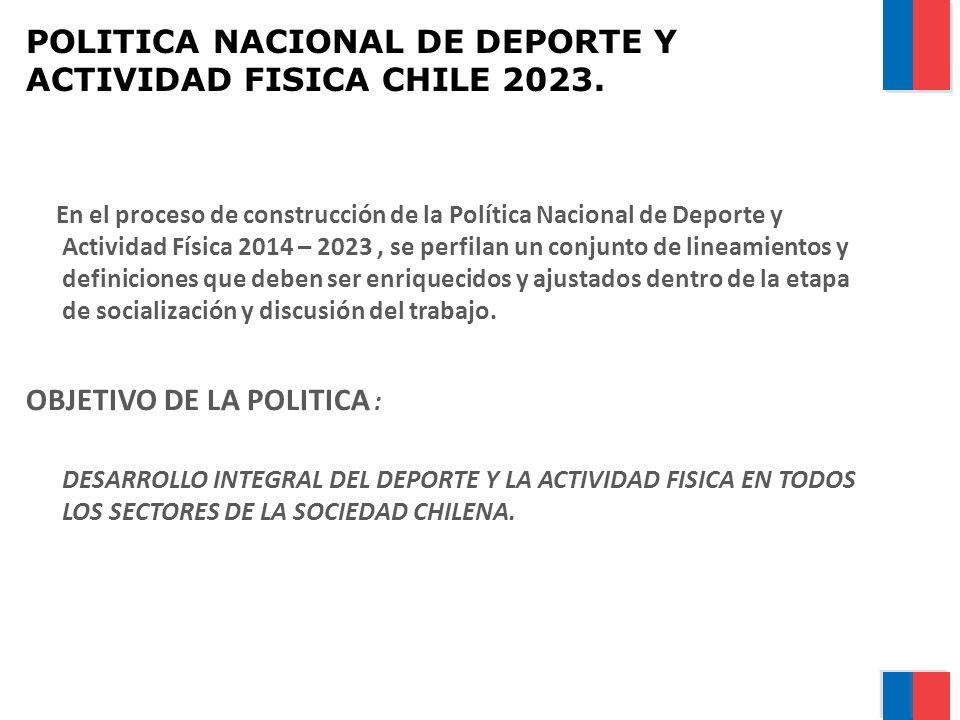 POLITICA NACIONAL DE DEPORTE Y ACTIVIDAD FISICA CHILE 2023. En el proceso de construcción de la Política Nacional de Deporte y Actividad Física 2014 –