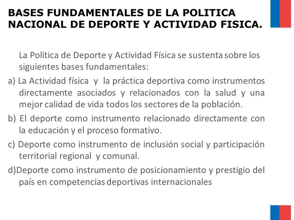 BASES FUNDAMENTALES DE LA POLITICA NACIONAL DE DEPORTE Y ACTIVIDAD FISICA. La Política de Deporte y Actividad Física se sustenta sobre los siguientes