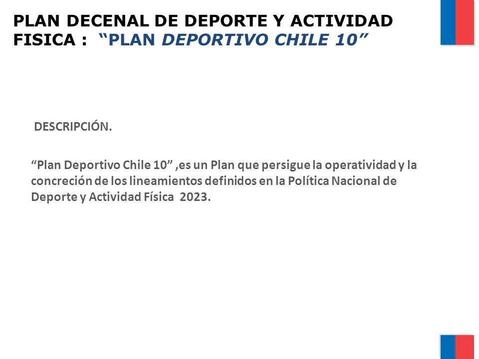 PLAN DECENAL DE DEPORTE Y ACTIVIDAD FISICA : PLAN DEPORTIVO CHILE 10 DESCRIPCIÓN. Plan Deportivo Chile 10,es un Plan que persigue la operatividad y la