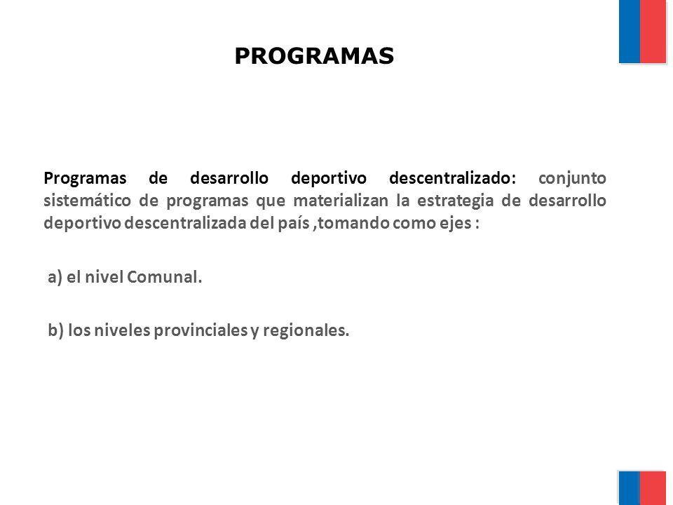 PROGRAMAS Programas de desarrollo deportivo descentralizado: conjunto sistemático de programas que materializan la estrategia de desarrollo deportivo descentralizada del país,tomando como ejes : a) el nivel Comunal.