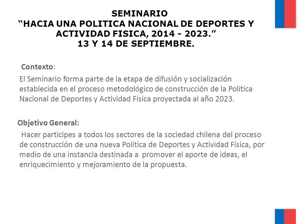 SEMINARIO HACIA UNA POLITICA NACIONAL DE DEPORTES Y ACTIVIDAD FISICA, 2014 - 2023. 13 Y 14 DE SEPTIEMBRE. Contexto: El Seminario forma parte de la eta
