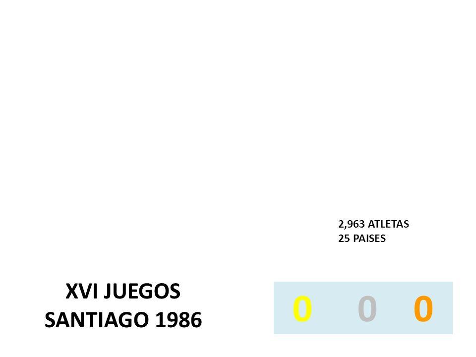 XVI JUEGOS SANTIAGO 1986 2,963 ATLETAS 25 PAISES 0 0 0