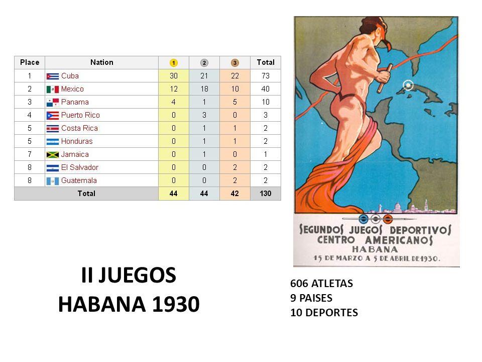 II JUEGOS HABANA 1930 606 ATLETAS 9 PAISES 10 DEPORTES