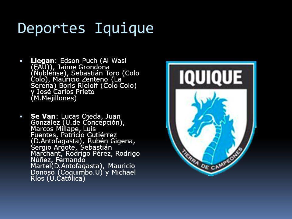 Deportes Iquique Llegan: Edson Puch (Al Wasl (EAU)), Jaime Grondona (Ñublense), Sebastián Toro (Colo Colo), Mauricio Zenteno (La Serena) Boris Rieloff