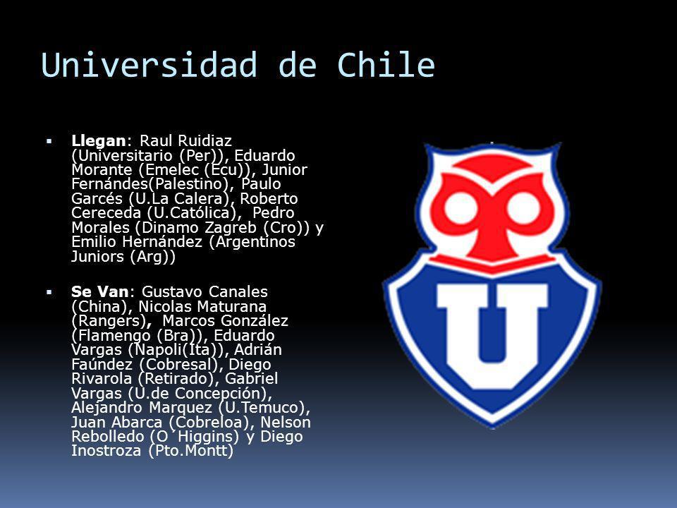 Universidad de Chile Llegan: Raul Ruidiaz (Universitario (Per)), Eduardo Morante (Emelec (Ecu)), Junior Fernándes(Palestino), Paulo Garcés (U.La Caler