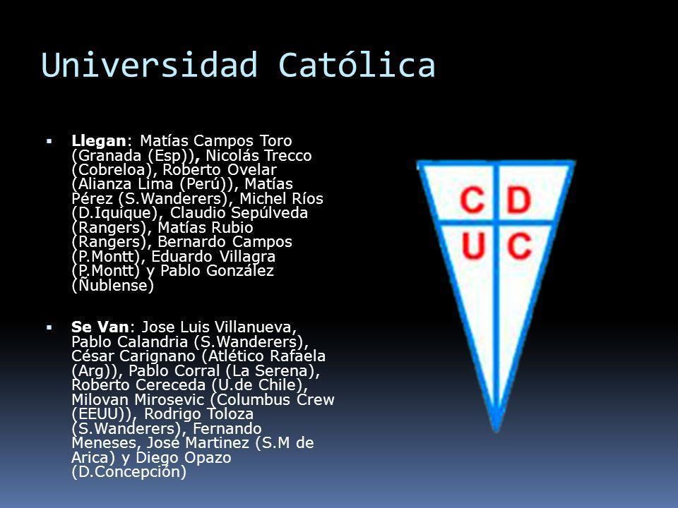 Universidad Católica Llegan: Matías Campos Toro (Granada (Esp)), Nicolás Trecco (Cobreloa), Roberto Ovelar (Alianza Lima (Perú)), Matías Pérez (S.Wand