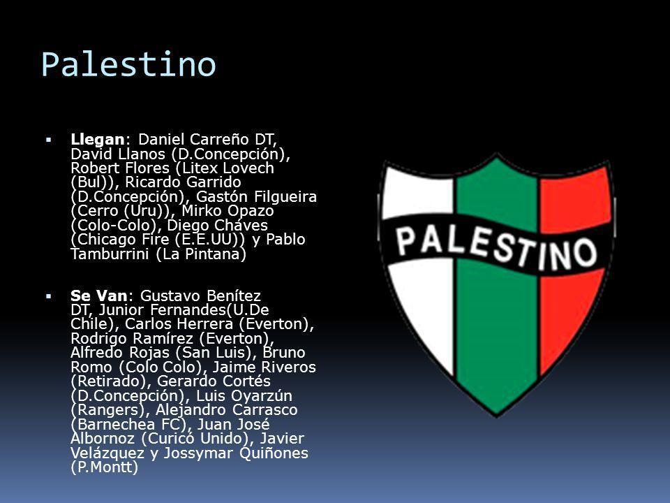 Palestino Llegan: Daniel Carreño DT, David Llanos (D.Concepción), Robert Flores (Litex Lovech (Bul)), Ricardo Garrido (D.Concepción), Gastón Filgueira