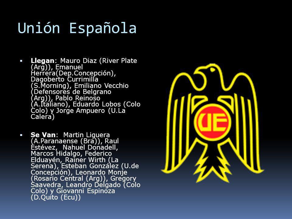 Unión Española Llegan: Mauro Diaz (River Plate (Arg)), Emanuel Herrera(Dep.Concepción), Dagoberto Currimilla (S.Morning), Emiliano Vecchio (Defensores