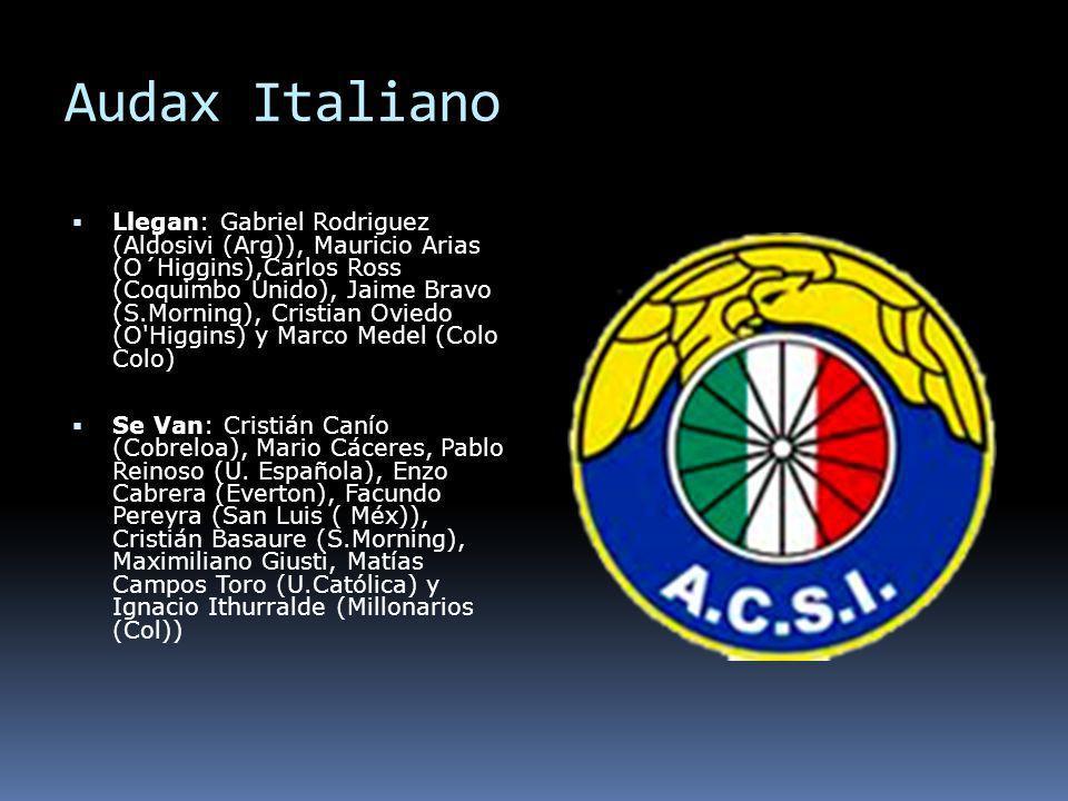 Audax Italiano Llegan: Gabriel Rodriguez (Aldosivi (Arg)), Mauricio Arias (O´Higgins),Carlos Ross (Coquimbo Unido), Jaime Bravo (S.Morning), Cristian