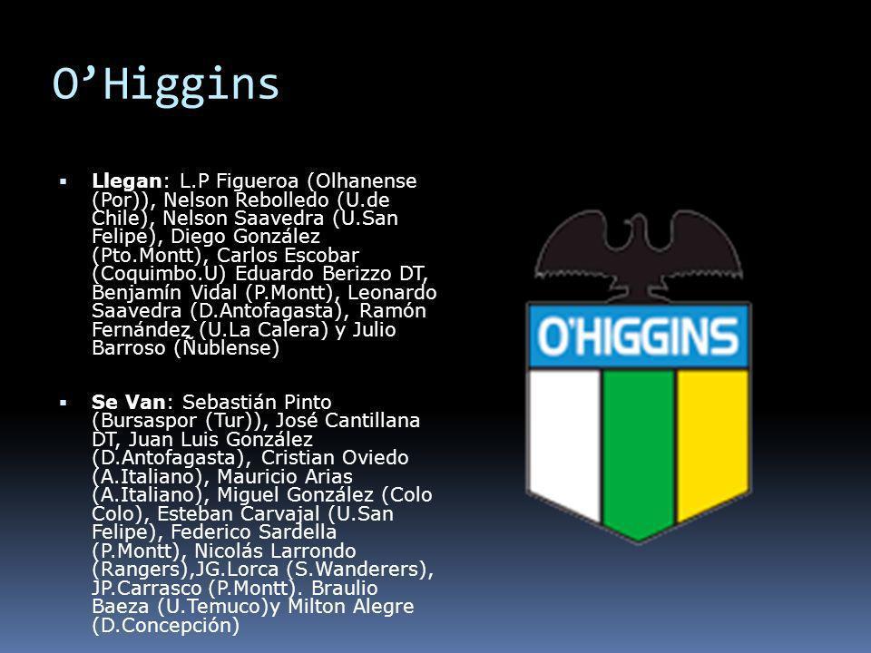 OHiggins Llegan: L.P Figueroa (Olhanense (Por)), Nelson Rebolledo (U.de Chile), Nelson Saavedra (U.San Felipe), Diego González (Pto.Montt), Carlos Esc