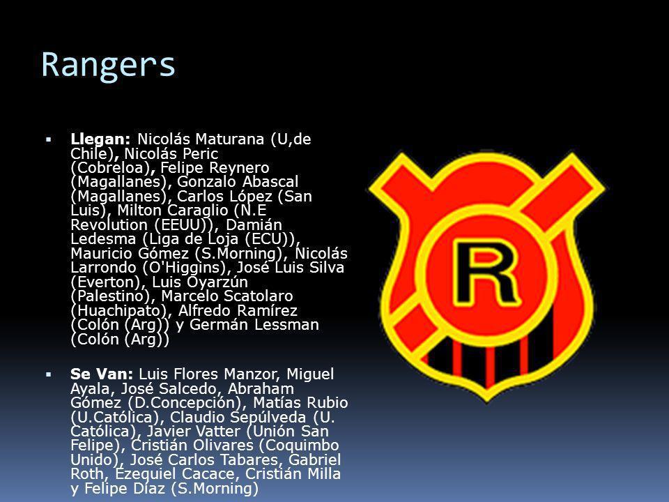 Rangers Llegan: Nicolás Maturana (U,de Chile), Nicolás Peric (Cobreloa), Felipe Reynero (Magallanes), Gonzalo Abascal (Magallanes), Carlos López (San
