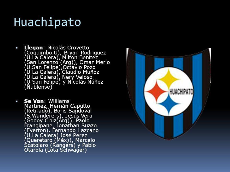 Huachipato Llegan: Nicolás Crovetto (Coquimbo.U), Bryan Rodriguez (U.La Calera), Milton Benítez (San Lorenzo (Arg)), Omar Merlo (U.San Felipe),Octavio