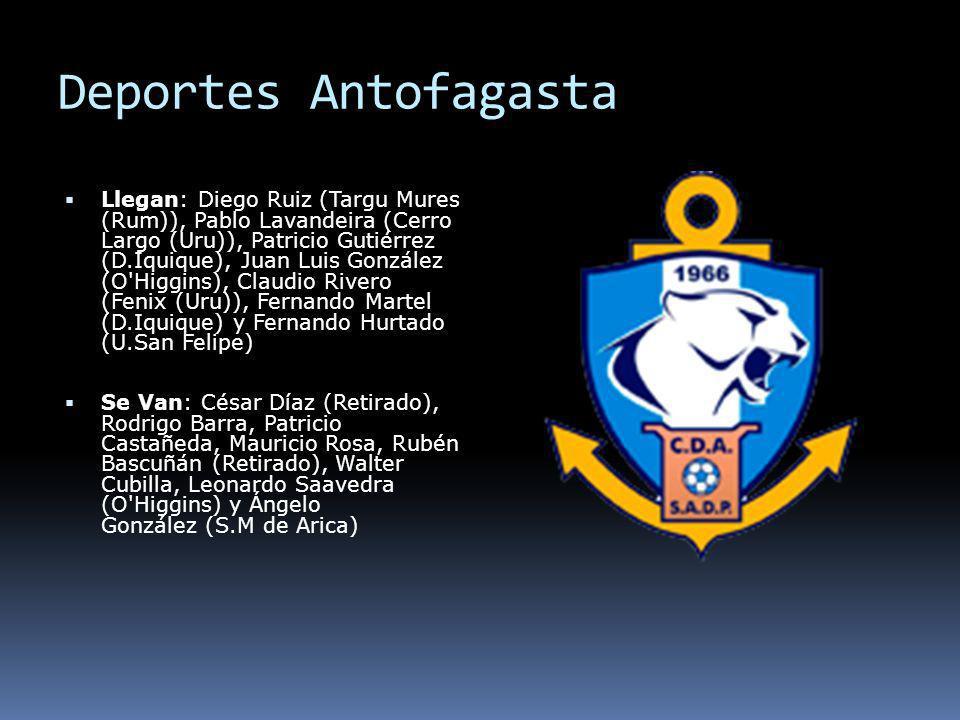 Deportes Antofagasta Llegan: Diego Ruiz (Targu Mures (Rum)), Pablo Lavandeira (Cerro Largo (Uru)), Patricio Gutiérrez (D.Iquique), Juan Luis González