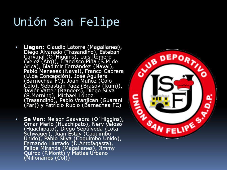 Unión San Felipe Llegan: Claudio Latorre (Magallanes), Diego Alvarado (Trasandino), Esteban Carvajal (O´Higgins), Luis Romero (Velez (Arg)), Francisco