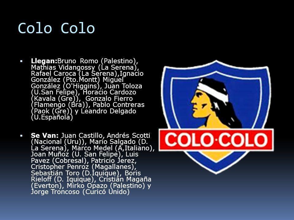 Colo Llegan:Bruno Romo (Palestino), Mathias Vidangossy (La Serena), Rafael Caroca (La Serena),Ignacio González (Pto.Montt) Miguel González (O'Higgins)