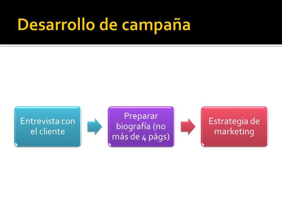 Entrevista con el cliente Preparar biografía (no más de 4 págs) Estrategia de marketing Comunicados de prensa