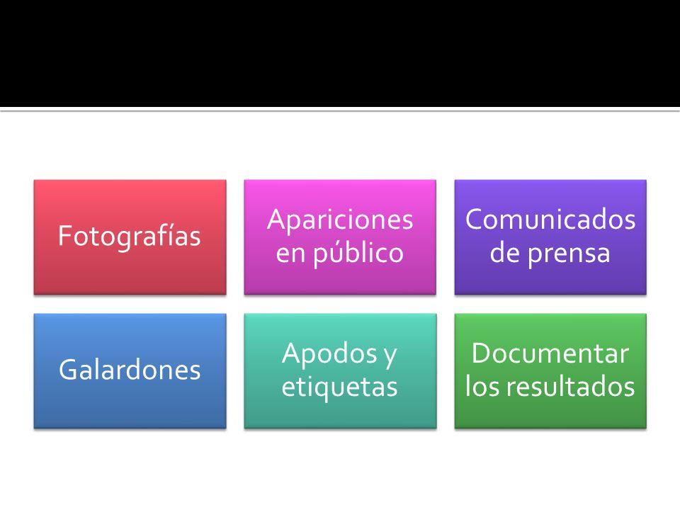 Fotografías Apariciones en público Comunicados de prensa Galardones Apodos y etiquetas Documentar los resultados