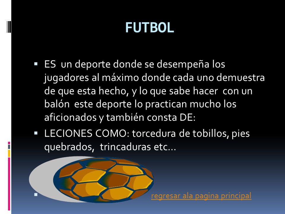 FUTBOL ES un deporte donde se desempeña los jugadores al máximo donde cada uno demuestra de que esta hecho, y lo que sabe hacer con un balón este depo