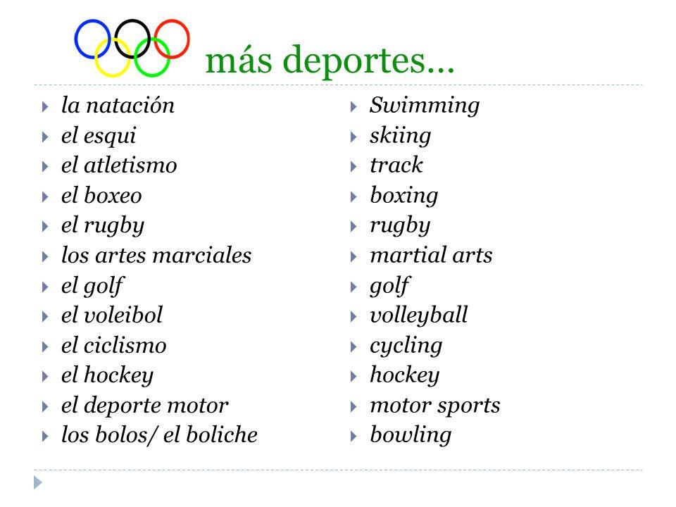 más deportes… la natación el esqui el atletismo el boxeo el rugby los artes marciales el golf el voleibol el ciclismo el hockey el deporte motor los b
