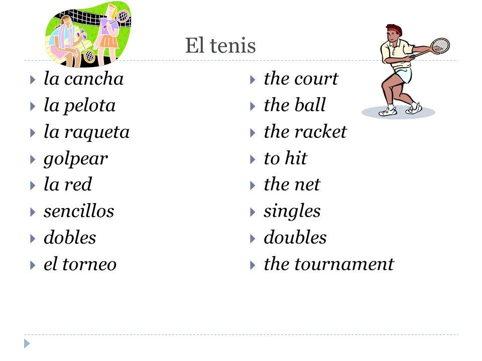El tenis la cancha la pelota la raqueta golpear la red sencillos dobles el torneo the court the ball the racket to hit the net singles doubles the tou