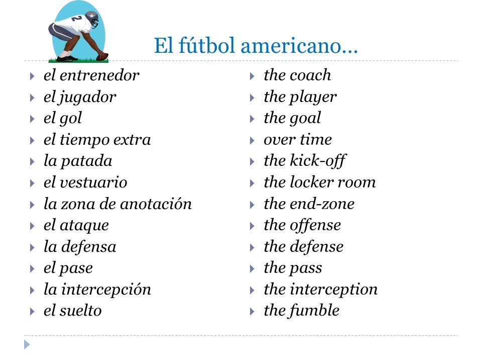 El fútbol americano… el entrenedor el jugador el gol el tiempo extra la patada el vestuario la zona de anotación el ataque la defensa el pase la inter