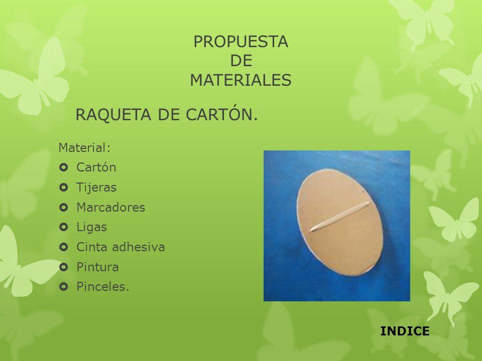 PROPUESTA DE MATERIALES RAQUETA DE CARTÓN. Material: Cartón Tijeras Marcadores Ligas Cinta adhesiva Pintura Pinceles. INDICE