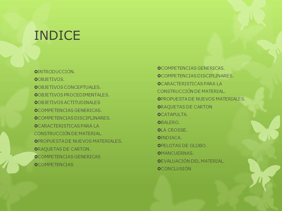 INDICE INTRODUCCIÓN. OBJETIVOS. OBJETIVOS CONCEPTUALES. OBJETIVOS PROCEDIMENTALES. OBJETIVOS ACTITUDINALES COMPETENCIAS GENERICAS. COMPETENCIAS DISCIP