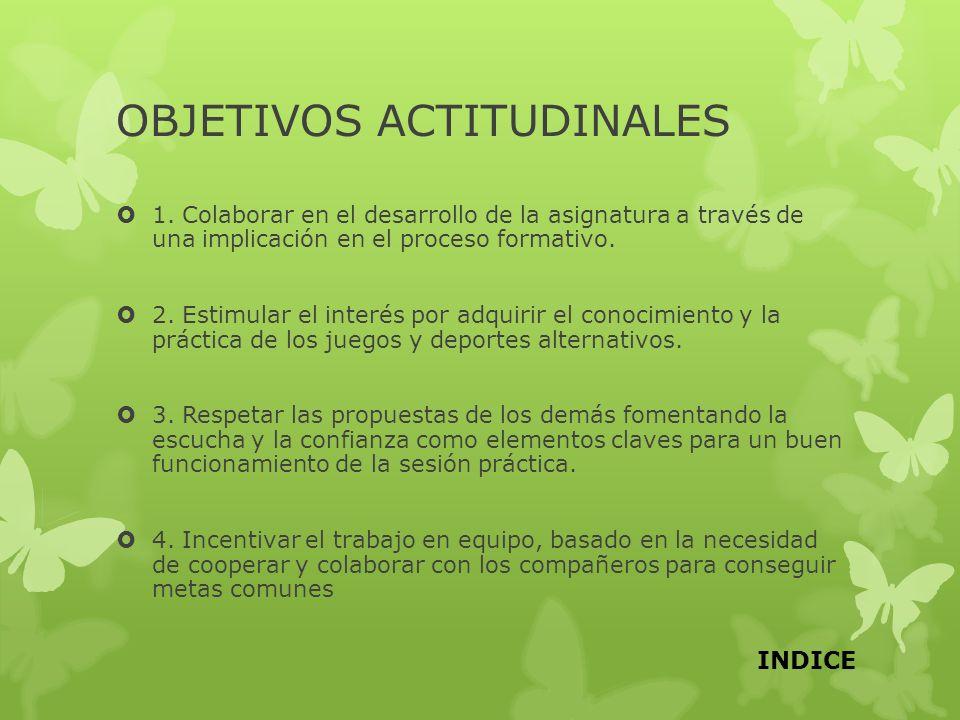 OBJETIVOS ACTITUDINALES 1. Colaborar en el desarrollo de la asignatura a través de una implicación en el proceso formativo. 2. Estimular el interés po