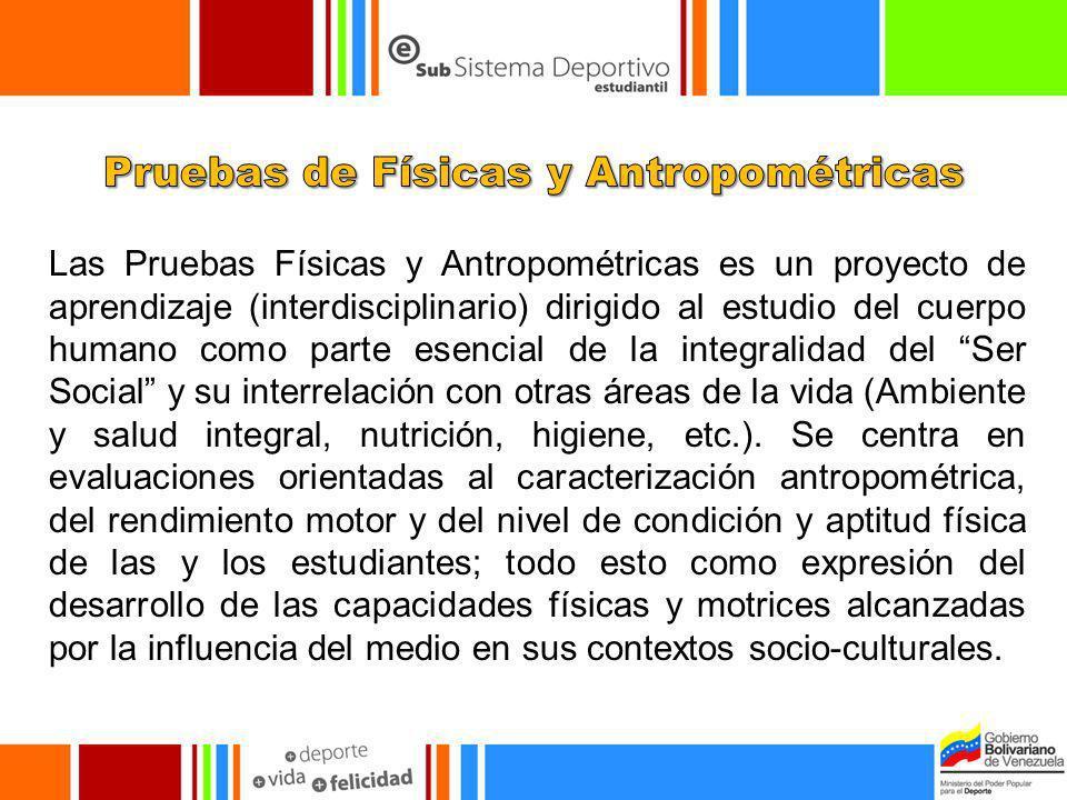 Las Pruebas Físicas y Antropométricas es un proyecto de aprendizaje (interdisciplinario) dirigido al estudio del cuerpo humano como parte esencial de