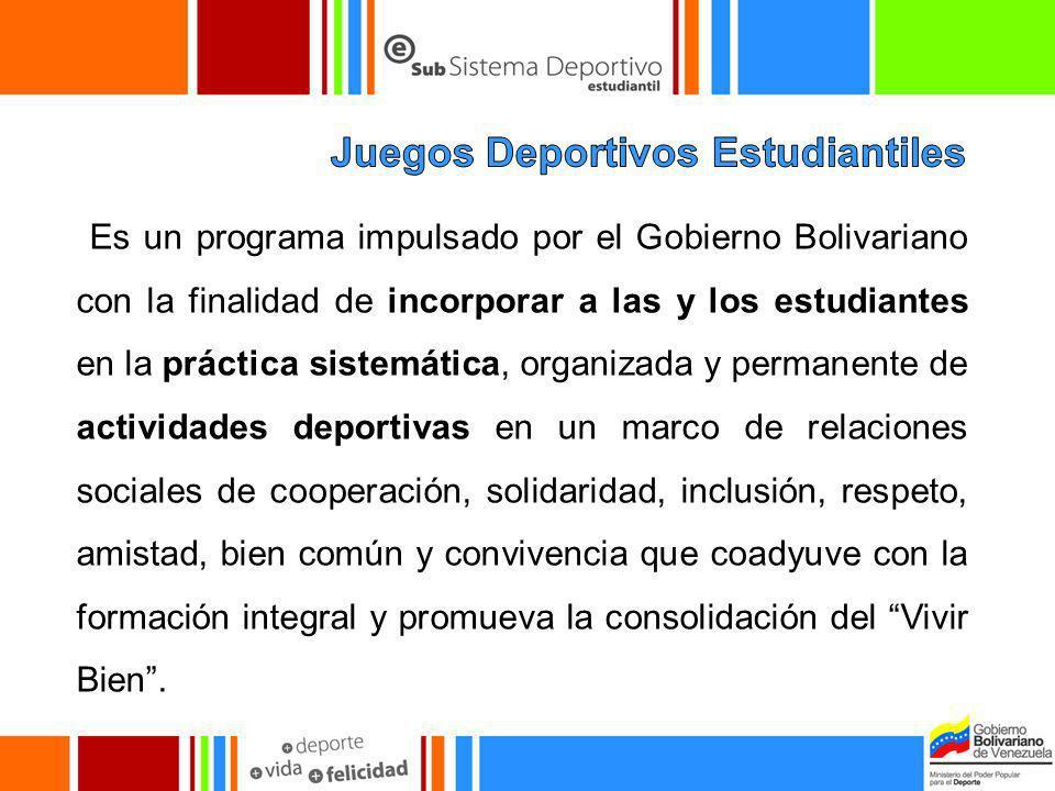 Es un programa impulsado por el Gobierno Bolivariano con la finalidad de incorporar a las y los estudiantes en la práctica sistemática, organizada y p