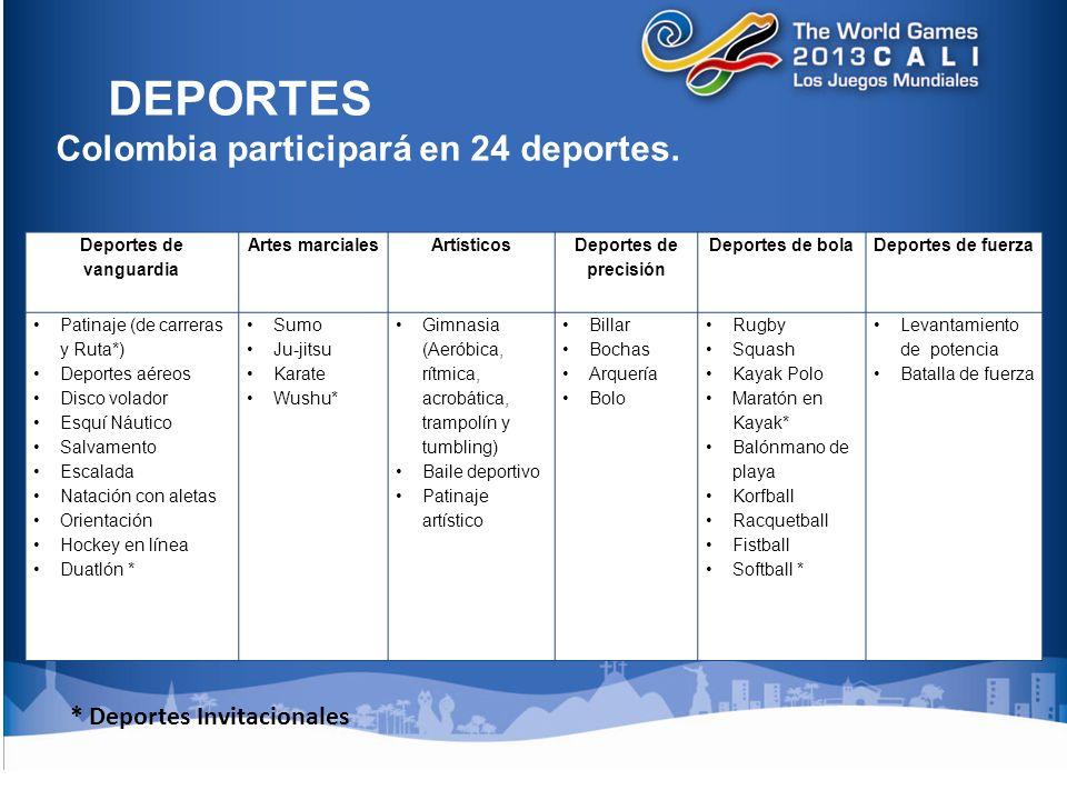 DEPORTES Colombia participará en 24 deportes.